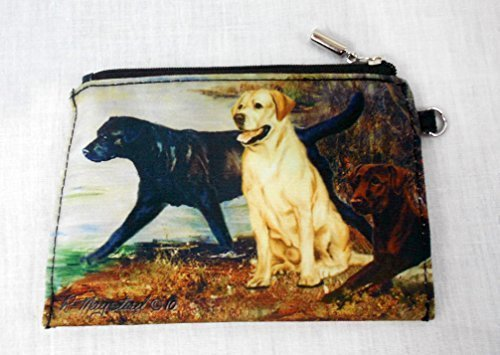 Best Friends by Ruth Maystead Labrador Retriever Golden, Black Lab and Chocolate Small Zippered Bag Pouch