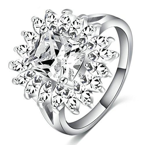 Gnzoe Jewelry, Retro Wedding Ring Fashion Prongs Zirconia Crystal Luxury Design Engagement Rings Size 9 (Dr Who Engagement Ring compare prices)
