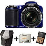 Nikon Coolpix L810 - Blue + Case + 8GB Memory Card + Battery and Charger (16.1MP, 26x Optical Zoom) 3 inch LCDby Picsio