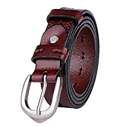 Vbiger Casual but Fashionable Women's Plain Leather Belt with Simple Pin Buckle (41.3 inches, Reddish-brown)