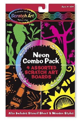 Neon Combo Pack: Scratch Art 4-Sheet Pack + FREE Melissa & Doug Scratch Art Mini-Pad Bundle [58407]