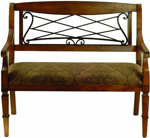 Safavieh American Home Collection Eton Antique Brown Cherry and Iron Upholstered Bench