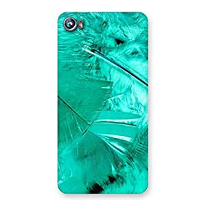 Delighted Feather Cyan Back Case Cover for Micromax Canvas Fire 4 A107