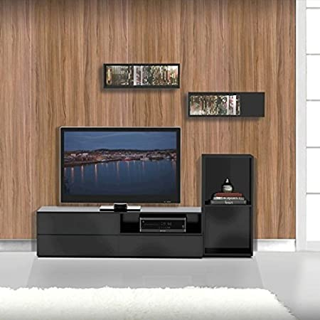 Modern TV Stand Set With Wall Rectangles FMP25129