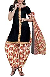 Mashuka Simran Women's Synthetic Unstitched Dress Material(D-No-5582_Black_Free Size)
