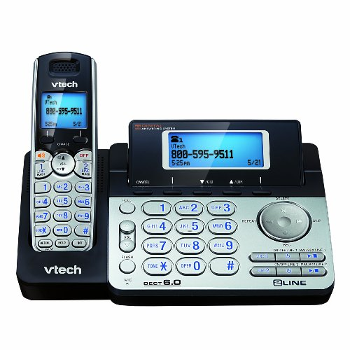 V-Tech DS6151 6.0 2-Line Expandable Cordless Phone with Digital Answering System and Caller ID (Silver/Black)