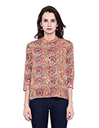 Fabindia Women's Body Blouse Shirt (10426051_Orange_X-Small)