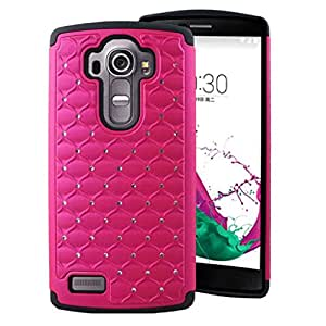 G4 Case - Hot Pink, MPERO Series IMPACT XB Crystal Jeweled Bling Dual Layered Shock Absorbing Hybrid Case for LG G4