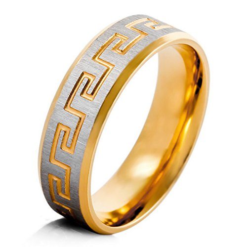 Men'S Stainless Steel Ring Band Gold Silver Greek Vintage Wedding Size7