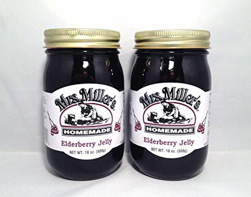 HUGE 18 oz Mrs. Miller's Elderberry Jelly - Pack of 2 - Amish and Homemade! (Apple Pie Jelly compare prices)