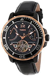 """Timex Men's T2M9316K """"SL Series"""" Rose Gold-Tone Stainless Steel and Black Leather Automatic Watch"""