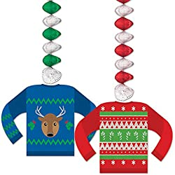 beistle ugly sweater danglers 30 multicolor