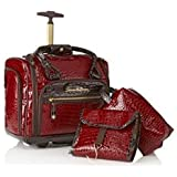 Samantha Brown Embossed Classic Croco Underseater Luggage with Accessories ~Burgundy Red
