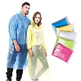 NEWBYINN Emergency Disposable Rain Ponchos for Adults (5 Pack) with Drawstring Hood and Elastic Sleeve Ends, Portable and Thicker Rain Poncho Family Pack