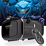 VR Headset Glasses Virtual Reality Mobile Phone 3D Movies for iPhone 6s/6 plus/6/5s/5c/5 Samsung Galaxy s5/s6/note4/note5 and Other 4.7-6.0 Cellphones + Remote Controlle
