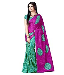 SB Creations Women's Bandhani Saree (SB_126_Purple)