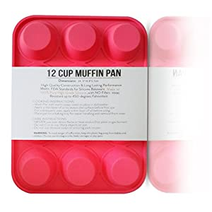 Mini Silicone Muffin Pan 12 Cup Cupcake Baking Birthday Kitchen Bakeware
