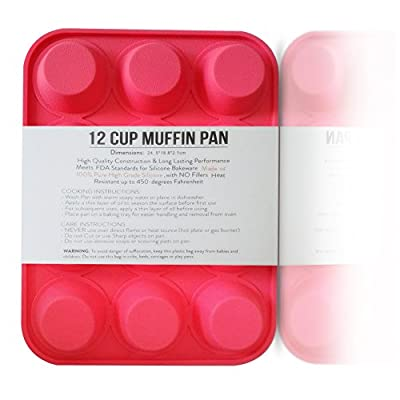 Silicone Muffin Pan 12 Cup Cupcake Baking Birthday Kitchen Bakeware