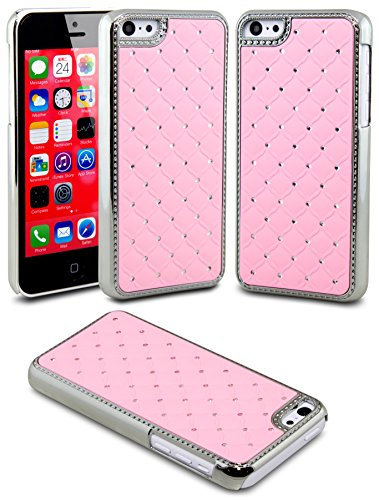 Iphone 5C Case, Case Ace(Tm) Iphone 5C Case Deluxe Diamond Rhinestone Bling Chrome Hard Case Cover For Apple Iphone 5C (Pink)