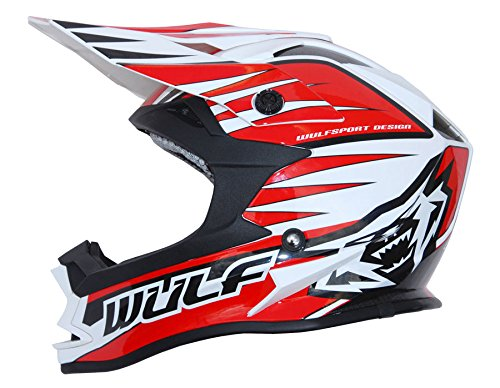 Wulfsport Kids Junior Advance MX Motocross Helmet (Junior Extra Large (54-55cm), Red)