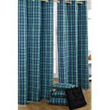 Homescapes Pair of 100% Cotton Ready Made Curtains - Black Watch Tartan Check - Green Black Blue - 117 x drop 137 cm - 54 Inch Drop - Eyelet Ring Top Hand Woven - Heavy Not Lined - Easy Care Washable at Homeby Homescapes