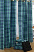 Black Watch Tartan Check Ready Made Green Black Blue curtain Pair