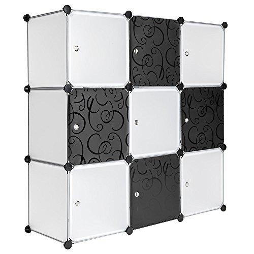 TecTake-System-Steckregal-Schrank-Regal-Sideboard-Kunststoff-schwarz-wei