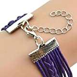 Milazer Owl Pearl Multilayer Charm PU Leather Bracelets (Purple)