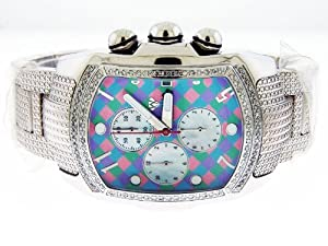 New Aqua Master Bubble Loop 1.25ct Diamond Watch Multi Color Face Stainless Steel Band