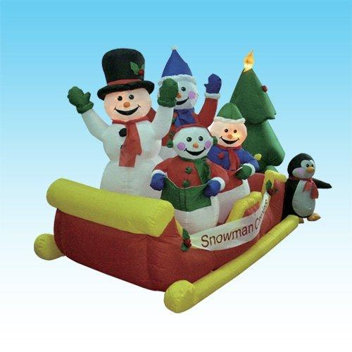 8 Foot Long Inflatable Snowmen Family on Sleigh w/ Pet Penguin
