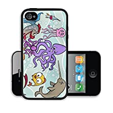 buy Liili Premium Apple Iphone 4 Iphone 4S Aluminum Case Cartoon Illustrations Of Funny Sea Life Animals And Fish Mascot Characters Group For Children Image Id 22786142