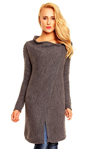 Damen Pullover Sweat Jacke Mantel Cardigan Poncho Coat Strickmantel grau 4007