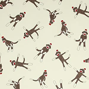 Moda Funky Monkey Sock Monkeys Cream, 44-inch (112cm) Wide Cotton Fabric Yardage