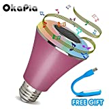 OKAPIA Smart LED Music Bulb with Bluetooth Speaker,16 Milliom supported Adjustable color light Controlled by APP Of Smartphone (pink)