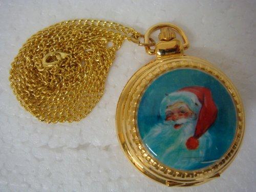 Round Shape Quartz Watch Pendent with Santa Picture- 14747