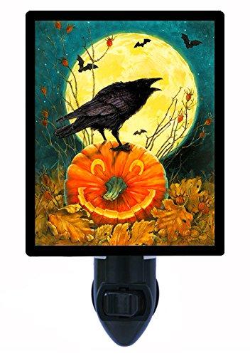 Halloween Night Light - Don'T Get Cawed - Crow Pumpkin Led Night Light