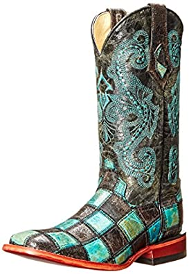Amazon.com: Ferrini Women's Patchwork BT Western Boot: Shoes