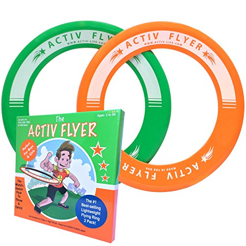 Super Fun Toys for Boys & Girls - Best Kids Frisbee Rings [2 PACK] Cool Christmas Gifts & Birthday Presents - Play Ultimate Outdoor Games at Beach Pool School Park - Made in USA! (Green & Orange) (Gifts For 4 Yr Old Girls compare prices)