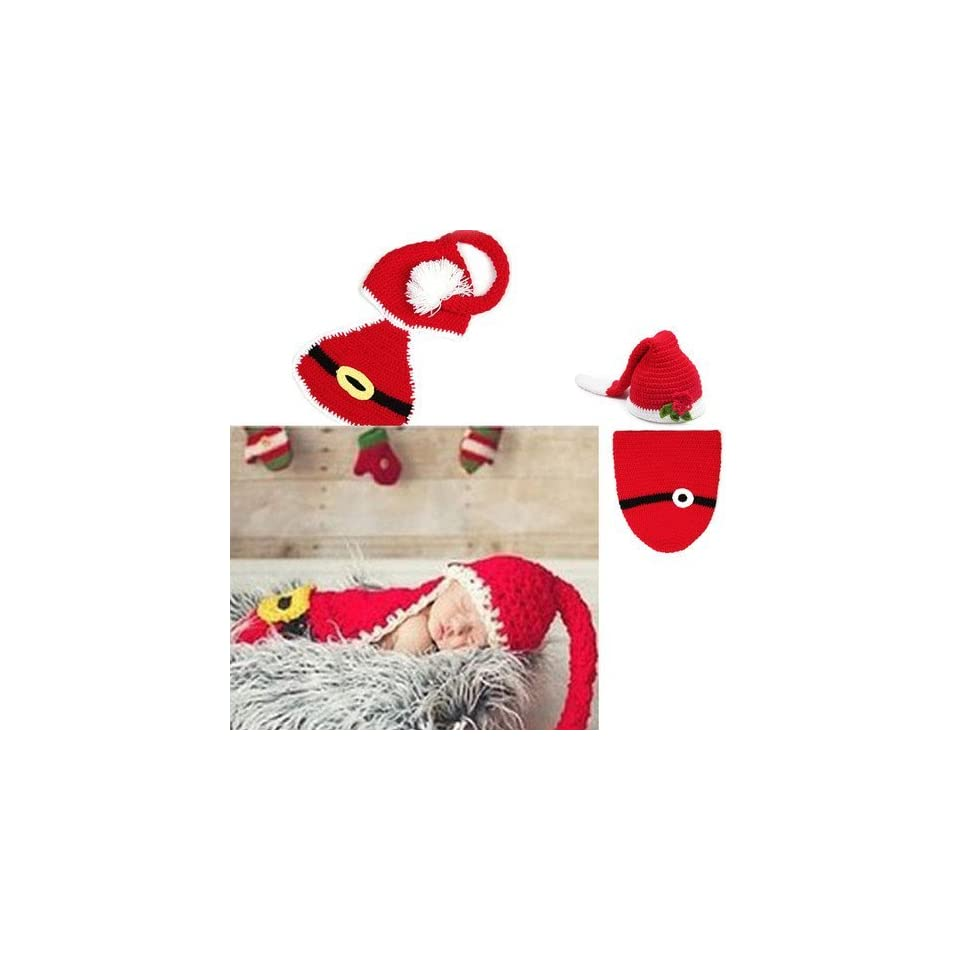 Infant Newborn Baby Boy Girl Knit Crochet Christmas Hat Photography Xmas Clothes (Red Flower Hat+Sleeping Bag)