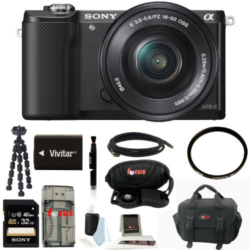 Sony ILCE5000LB ILCE-5000LB ILCE/500LB Alpha A5000 Mirrorless Digital Camera with 16-50mm Lens (Black) + Sony Class 10 32GB Memory Card + All in One High Speed Card Reader + Focus Deluxe SLR Soft Shell Camera Gadget Bag + Vivitar Battery for Sony NPFW50 + Accessory Kit (High Speed Camera 5000 Fps compare prices)