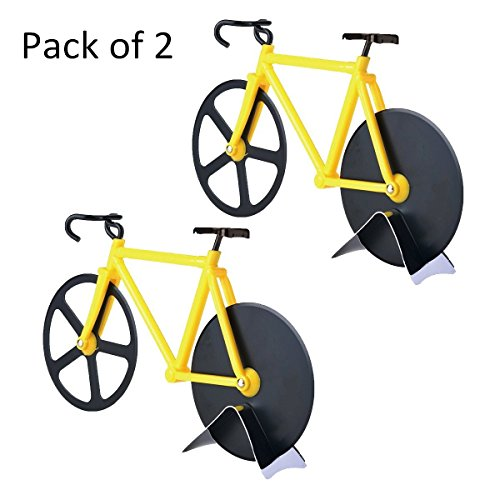 Esamconn Pizza Cutter - Bicycle Pizza Cutter Wheels, Kitchen & Dinning Stainless Steel Tool Wheels Cutter (Black/Yellow,2 Pack) (Pizza Pie Cutter compare prices)