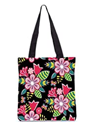Snoogg Abstract Floral Background Designer Poly Canvas Tote Bag - B012FUC30W
