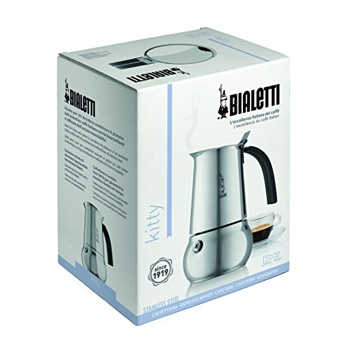 Bialetti 06813 Kitty Espresso Coffee Maker, Stainless Steel, 6 cup