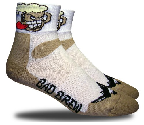 RHINO SOCKS SS series, Bad Brew, sand/white, anklet sports cycling biking hiking running socks