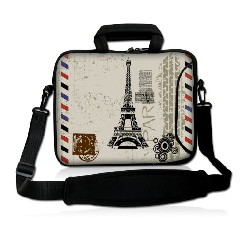 "17"" 17.3"" 17.4"" Inch Paris Design Neoprene Notebook Laptop Soft Bag Sleeve Case Cover Pouch With Adjustable Shoulder Strap For Apple Macbook Pro 17 /Hp Envy 17 Series/ Pavilion Dv7/Dv7T/G72/G72T/G7T/M7 Series / Dell Inspiron 17 17R I17Rm I17Rv Xps 17 Seri front-640090"