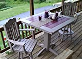 "Poly Lumber Wood Patio Set- 44"" Square Bar Table and 4 Royal Swivel Bar Chairs- Amish Made"