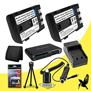 Two Halcyon 1700 mAH Lithium Ion Replacement NB-2LH Battery and Charger Kit + Memory Card Wallet + SDHC Card USB Reader + Deluxe Starter Kit for Canon NB-2L and Canon PowerShot Elph 330 HS, Elph 100 HS, 300 HS, 310 HS, SD1000, SD1100 IS, SD1400 IS, SD200, SD300, SD40, SD400, SD430, SD450, SD600, SD630, SD750, SD780 IS, SD940 IS, SD960 IS, TX1 Digital Cameras