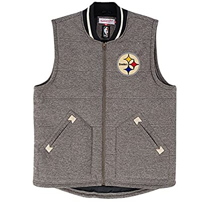 """Pittsburgh Steelers Mitchell & Ness NFL """"Victory"""" Premium Throwback Vest Jacket"""