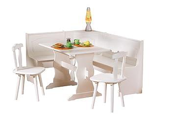 Links 20900140 Donau Coin Repas blanc chaises et table Blanc 50 x 172 x 87 cm