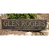 GLEN ROGERS, WEST VIRGINIA - Rustic Hand Painted Wooden Sign - 9.25 X 48 Inches